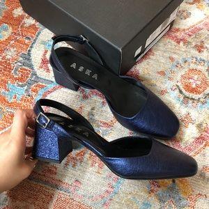🤩BNIB ASKA Italian Slingback Foiled Heel 7…